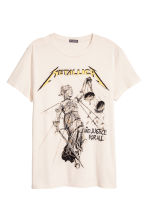 Cotton jersey T-shirt - White/Metallica - Men | H&M CA 2