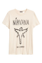 Cotton jersey T-shirt - Natural white/Nirvana - Men | H&M CN 2