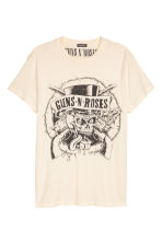Cotton jersey T-shirt - Natural white/Guns N' Roses - Men | H&M 2