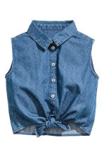 Sleeveless tie-front blouse - Denim blue -  | H&M 2