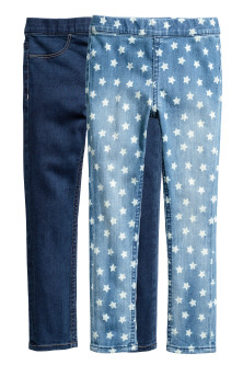 Leggings in denim, 2 pz