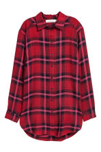 Camicia lunga in flanella - Rosso/quadri - DONNA | H&M IT 2