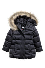 Hooded down jacket - Black - Kids | H&M CN 2