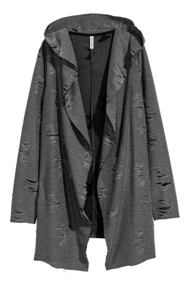 Trashed hooded cardigan - Dark grey -  | H&M