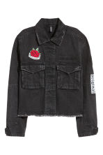 Denim jacket - Black denim/Rose - Ladies | H&M 2