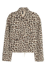 Denim jacket - Beige/Leopard print - Ladies | H&M CN 1