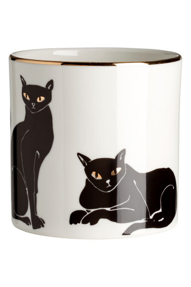 Pot de fleurs en porcelaine - Blanc/chats - Home All | H&M FR 1