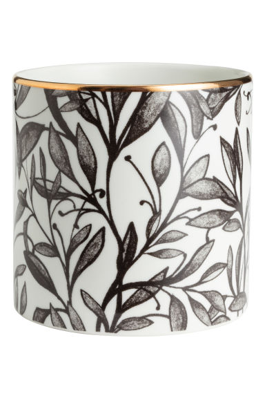 Porcelain plant pot - White/Leaf - Home All | H&M CN