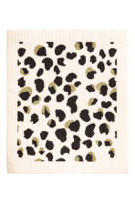 Dishcloth - White/Leopard print - Home All | H&M CN 1