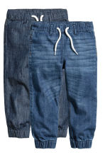 2-pack denim joggers - Denim blue/Dark denim blue - Kids | H&M CN 2
