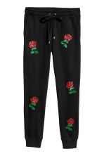 Joggers con ricami - Nero/rose - DONNA | H&M IT 2