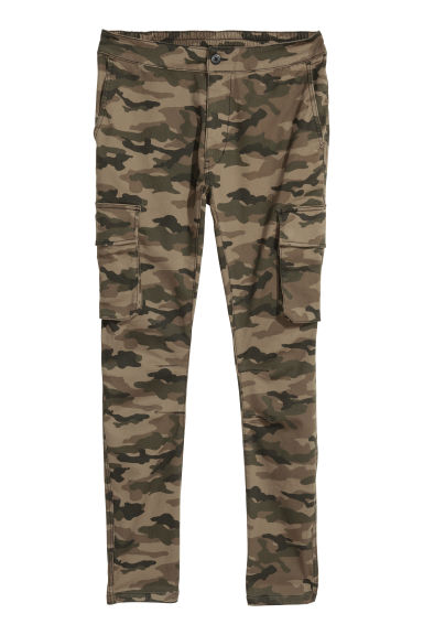 Elasticated cargo trousers - Khaki/Patterned -  | H&M