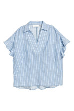 Frill-sleeved cotton blouse - Light blue/Striped - Ladies | H&M CA 2