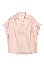 Frill-sleeved cotton blouse - Powder/Striped - Ladies | H&M CN 2