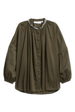 Blouse with sparkly stones - Khaki green - Ladies | H&M IE 2