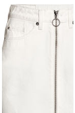 Zip-front denim skirt - White denim -  | H&M CN 4