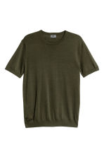 Fine-knit silk-blend T-shirt - Dark khaki green - Men | H&M 2