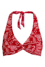 Halterneck bikini top - Red/Paisley - Ladies | H&M 2