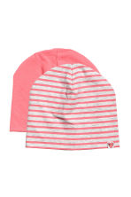 2入裝平紋帽 - Pink/Striped - Kids | H&M 1