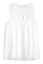 Cotton top with pin-tucks - White -  | H&M CA 2