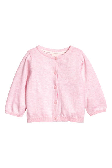 Fine-knit cardigan - Light pink marl -  | H&M CN 1