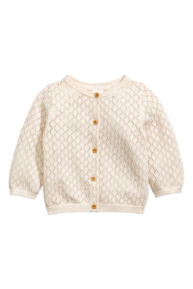 Lace-knit cotton cardigan - Light beige - Kids | H&M 1