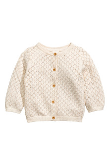 Lace-knit cotton cardigan