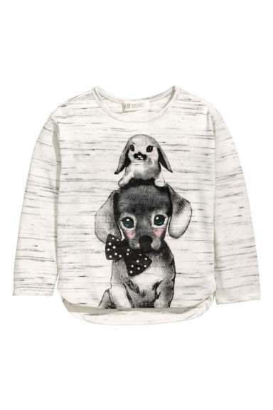 Printed jumper - Light grey - Kids | H&M 1