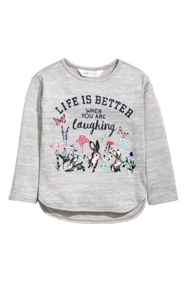 Printed jumper - Grey - Kids | H&M 1