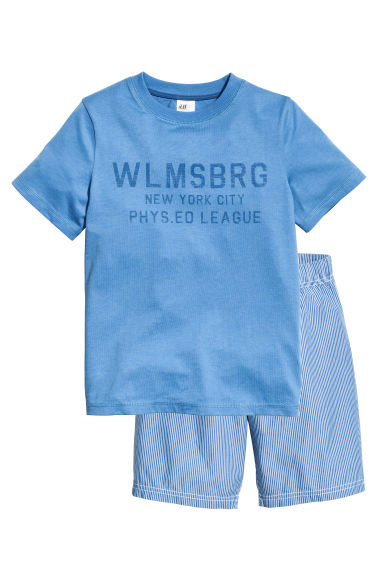 Pyjama T-shirt and shorts - Blue - Kids | H&M 1