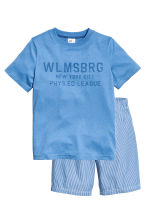 Pyjama T-shirt and shorts - Blue -  | H&M 1