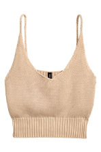 Knitted cropped top - Beige - Ladies | H&M CN 2