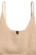 Knitted cropped top - Beige - Ladies | H&M CN 3