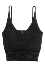Knitted cropped top - Black - Ladies | H&M 2