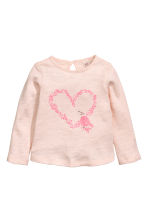 Fine-knit jumper - Light pink/Heart - Kids | H&M CN 1