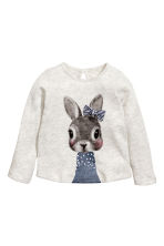 Fine-knit jumper - Light grey/Rabbit - Kids | H&M 1