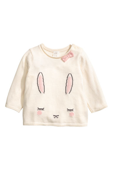 Fine-knit jumper - Natural white/Rabbit - Kids | H&M 1