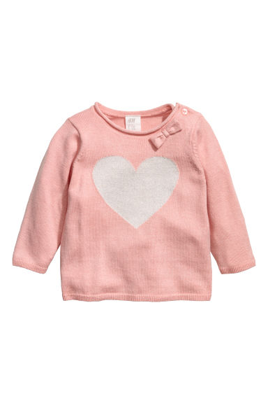 Fine-knit jumper - Powder pink/Heart -  | H&M