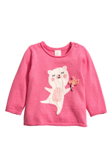 Fine-knit jumper - Pink/Bear -  | H&M
