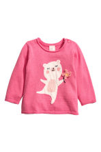 Fine-knit Sweater - Pink/bear - Kids | H&M CA 1