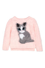 Fluffy Sweater - Light pink/cat - Kids | H&M CA 2