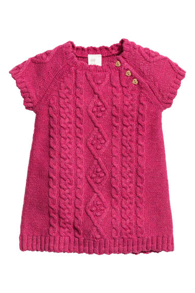 Knitted dress - Raspberry pink -  | H&M 1