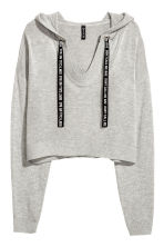 Fine-knit hooded jumper - Grey marl - Ladies | H&M CN 1
