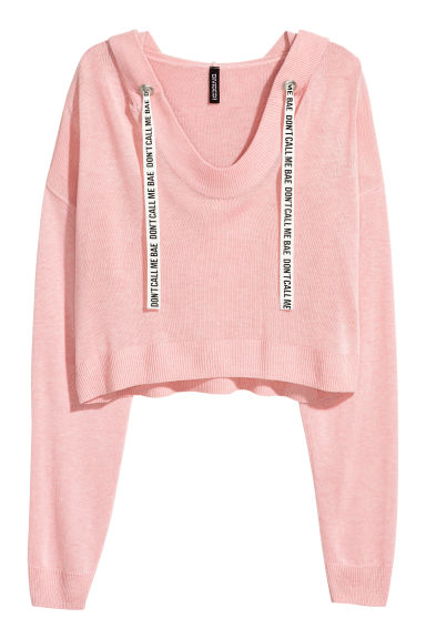Fine-knit hooded jumper - Light pink -  | H&M