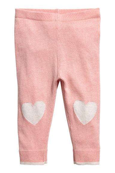 Knit Tights - Powder pink/heart - Kids | H&M CA