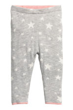 Knitted tights - Light grey/Stars - Kids | H&M GB 1