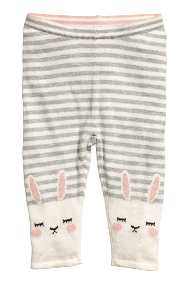 Knitted tights - Natural white/Rabbit -  | H&M