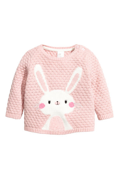 Textured-knit Sweater - Powder pink/rabbit - Kids | H&M CA