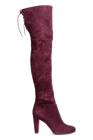Knee-high boots - Plum - Ladies | H&M