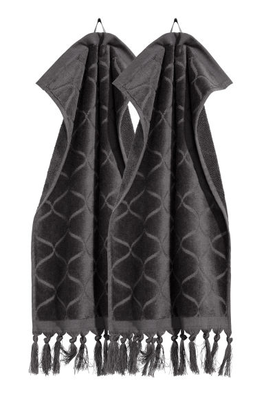 2-pack guest towels - Anthracite grey - Home All | H&M IE 1